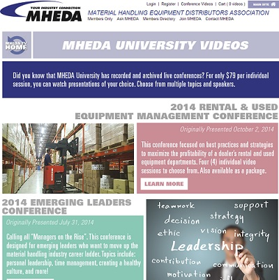 MHEDA University offers members and non-members the option to access videos, for a fee, of conferences from multiple topics and speakers.