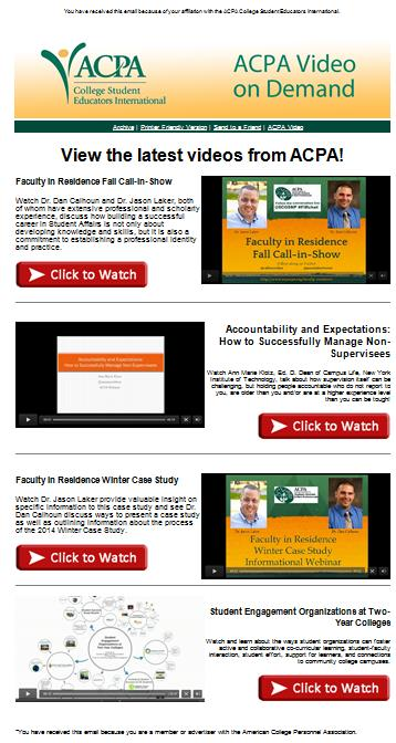 College Student Educators International Video Email Template