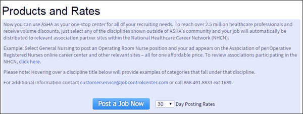 The American Speech-Language-Hearing Association outlines the value of paying to post a job on their career center at the start of the job posting process on their website.