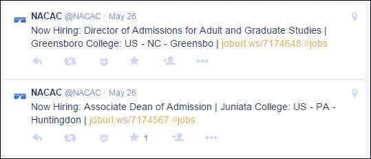 The National Association for College Admission Counseling takes job listings from its career center and uses them as tweets. The employer gets additional exposure, and NACAC has ready-made content that is of interest to its Twitter followers.