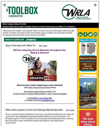 WRLA eNewsletter Ad Promoting Video