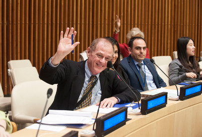 Tom Hedberg representing the International Medical Crisis Response Alliance at the United Nations