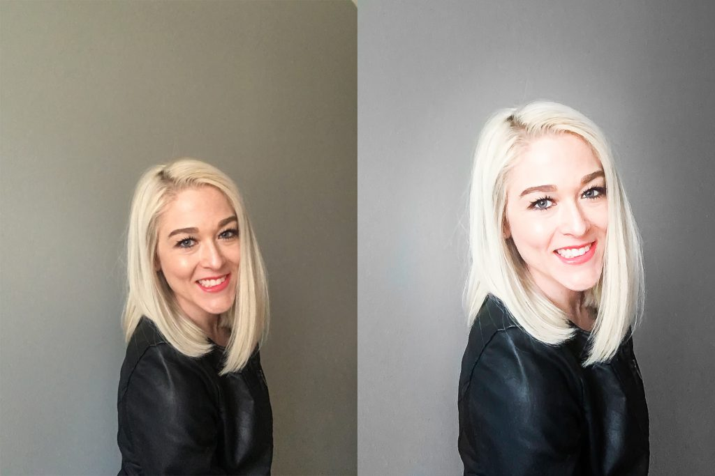 My favorite from the bunch: Directly from the phone unedited is on the left, contrasted against the edited version on the right. The edited version is brighter, sharper, and cropped so my face becomes the primary focus.