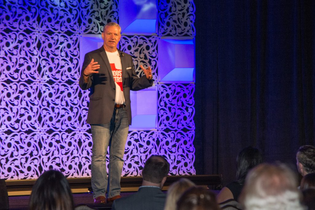 """""""Because TSAE had the courage and believed in us, and trusted us, others are coming because TSAE came,"""" Greater Houston Visitors Bureau President Mike Waterman told attendees at TSAE's New Ideas conference in September 2017, days after Hurricane Harvey swept through the region."""