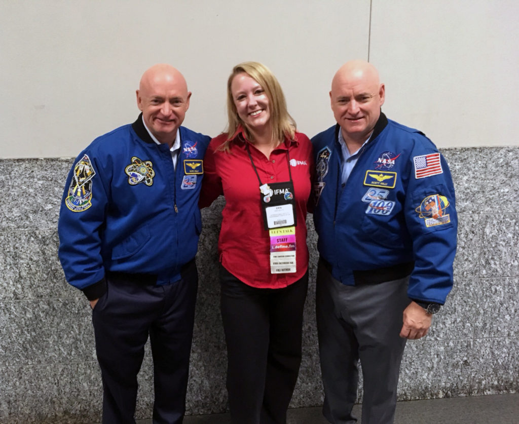 Backstage at World Workplace 2017 with astronauts Mark (L) and Scott (R) Kelly
