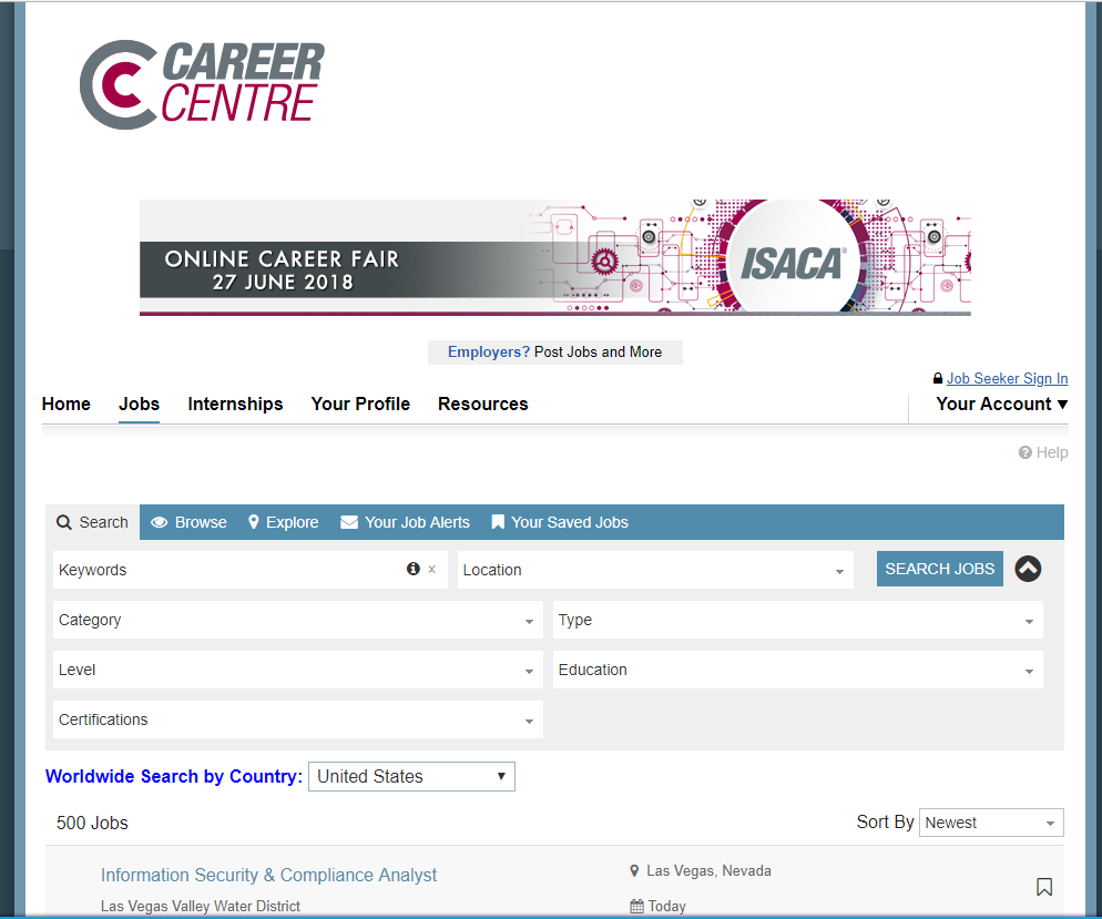 ISACA's online career center allows tech job seekers around the world to search for jobs in any region or country.