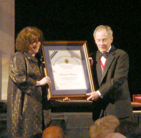 The American Urological Association awarded Wendy a Presidential Citation Award in 2010 for her work supporting the medical specialty.