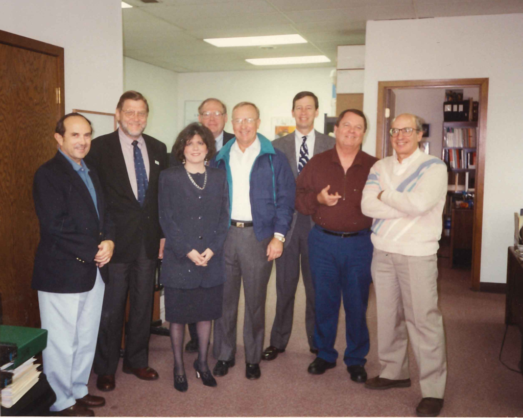 Wendy Weiser with staff from the American Association of Clinical Urologists visiting her first office in 1993.