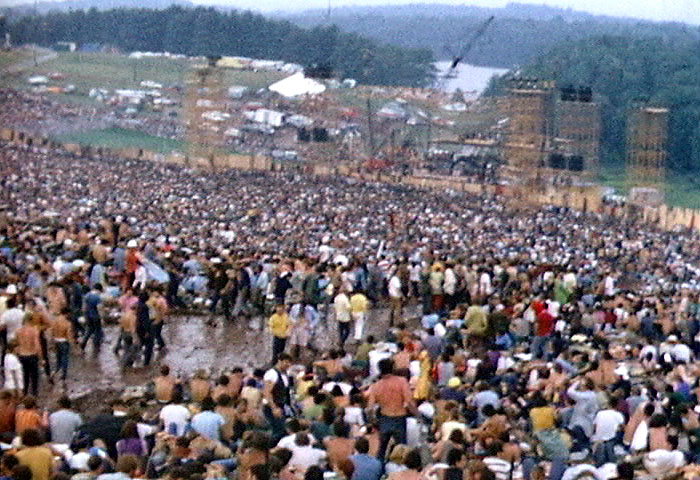 More than 350,000 music revelers attended Woodstock in New York in August 1969.