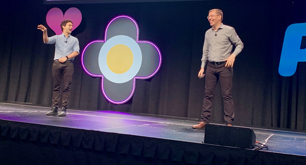 Henry Timms of the Lincoln Center for the Performing Arts and Jeremy Heimans of Purpose speak on stage at ASAE 2019.