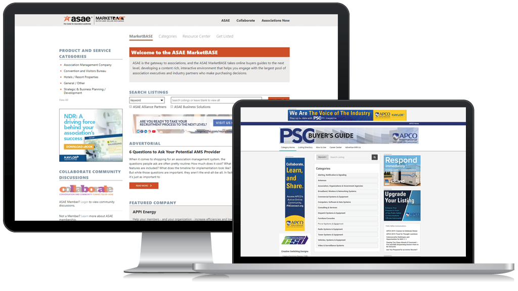Buyers' Guides like these from ASAE and APCO International let members and vendors easily connect.