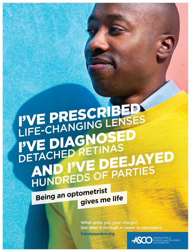Optometrist in a yellow sweater who has prescribed life-changing lenses, diagnosed detached retinas ,and deejayed hundreds of parties.