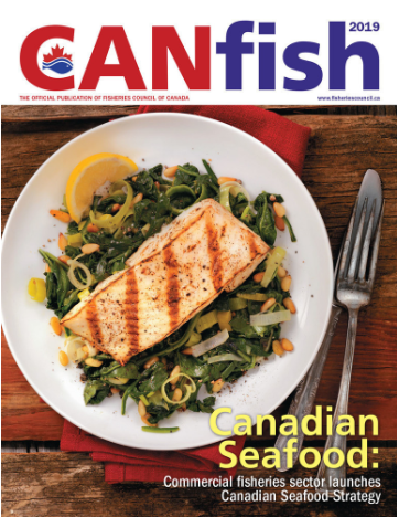 CANFish Magazine Cover featuring a plate of salmon and greens