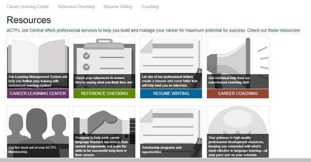 Screen grab of a resource section of an online career center