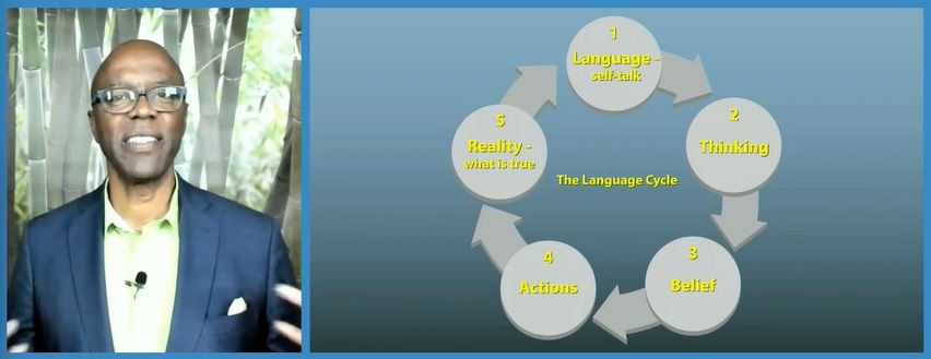 Greg Bell on the left with language graphic on the right