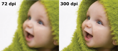 Example of 72 dpi vs. 300 dpi resolutions